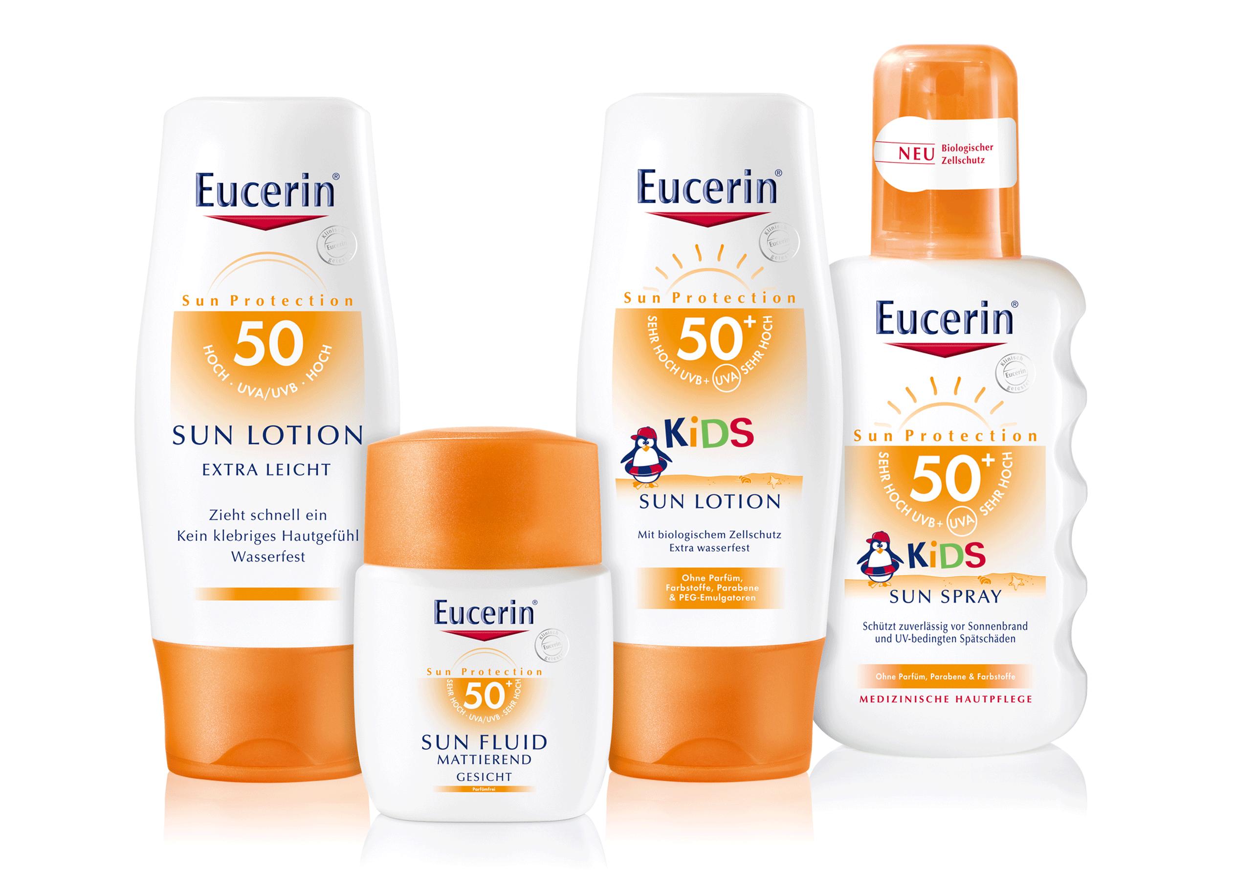 eucerin-sun,sonnenmilch,sonnenspray,packshot,retusche,composing,spiegelung